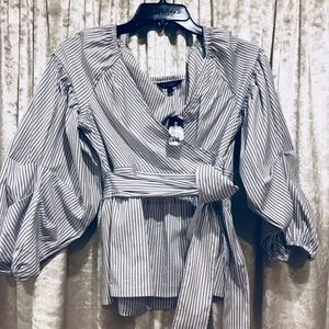 NWT EXPRESS striped puff sleeve tie waist top